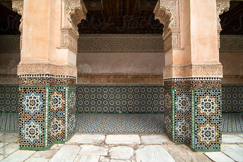 Courtyard of Ben Youssef Medersa in Marrakech. by Bisual Studio for Stocksy United