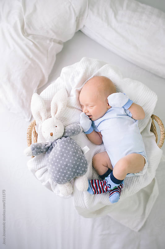 Baby boy sleeping next to his cute rabbit toy by Jovo Jovanovic for Stocksy United