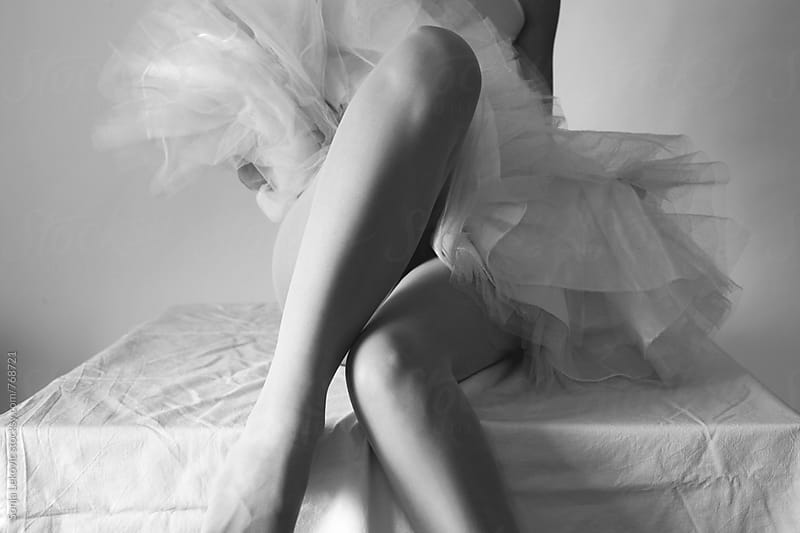 ballerina skirt and legs in black and white by Sonja Lekovic for Stocksy United