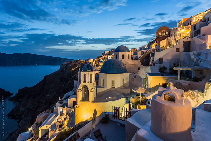 Oia at twilight, Santorini, Greece by Paul Phillips for Stocksy United