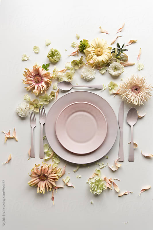 Pink plate with flowers by Sophia Hsin for Stocksy United