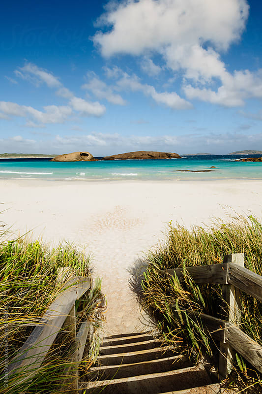stairs down to the beach, Esperance, Western Australia by Gillian Vann for Stocksy United