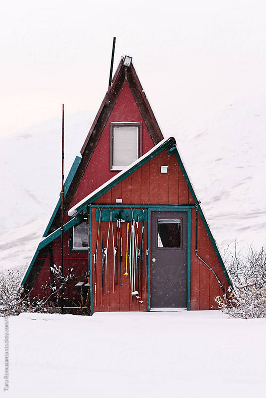 A frame cabin in alaska in the snow by tara romasanta for Alaska cottage