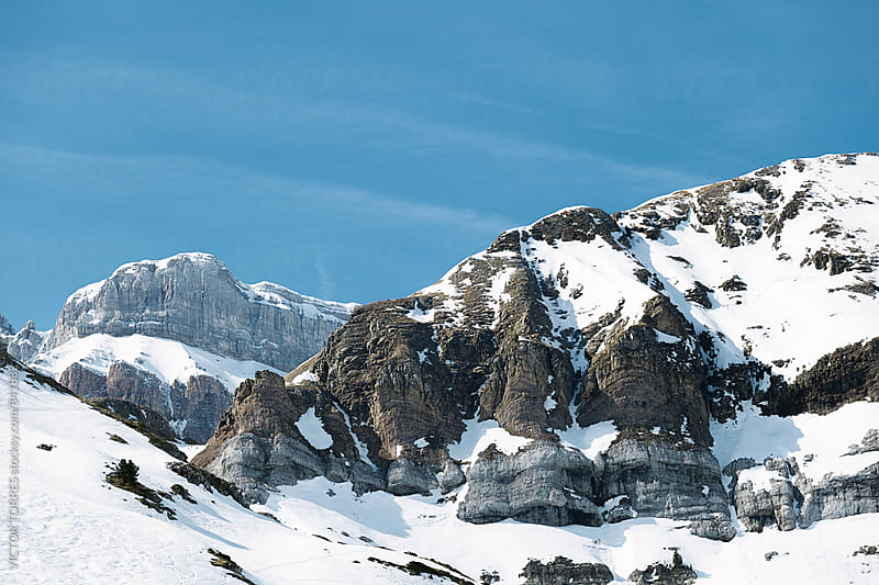 Snow Covered Mountains in a Pyrenees Scenery by Victor Torres for Stocksy United