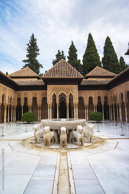 Wonderful fountain in Courtyard of the Lions in Alhambra of Granada by ACALU Studio for Stocksy United