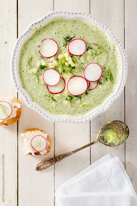 Cold Summer Cucumber Yogurt Soup and Crostini by Jeff Wasserman for Stocksy United