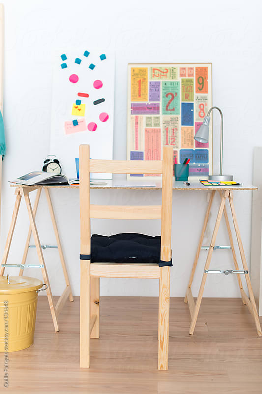 Creative minimalist workspace for children by Guille Faingold for Stocksy United