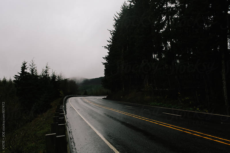 Wet, gloomy road through the forest by KATIE + JOE for Stocksy United