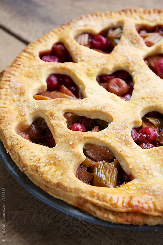 Rhubarb and Red Gooseberry Pie by Harald Walker for Stocksy United