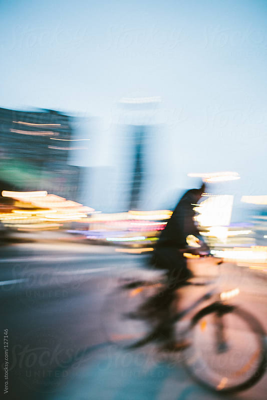 Cycling by Night in the City by Good Vibrations Images for Stocksy United