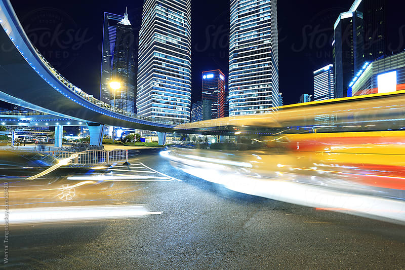 Shanghai Lujiazui highway at night  by Wenhai Tang for Stocksy United