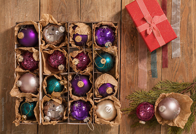 Christmas Stuff on a Wooden Table by Mosuno for Stocksy United