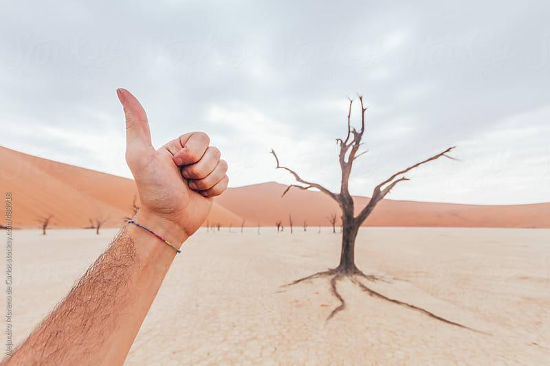 Thumb up in desert landscape. POV shot by Alejandro Moreno de Carlos for Stocksy United
