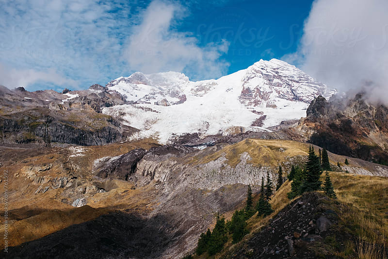 landscapes of mount rainier in washington cascade mountain range by Jesse Morrow for Stocksy United