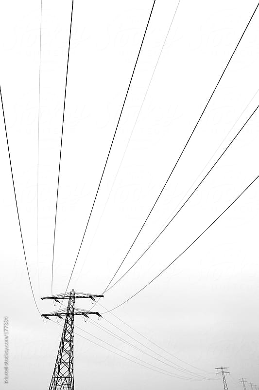 Power lines and towers by Marcel for Stocksy United