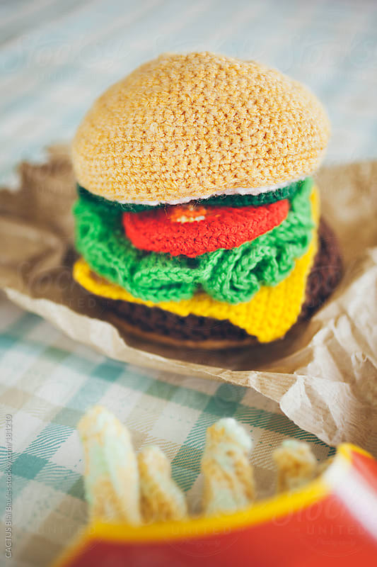 Amigurumi hamburger and fries by CACTUS Blai Baules for Stocksy United