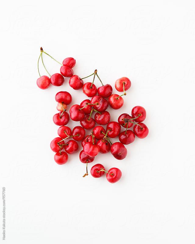 Fresh cherrys on white background by Naoko Kakuta for Stocksy United