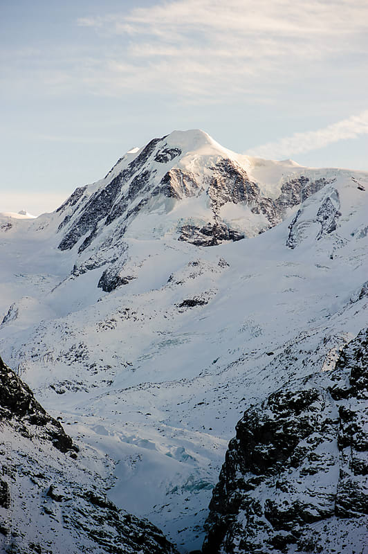 Lyskamm mountain peak above Zermatt by Peter Wey for Stocksy United
