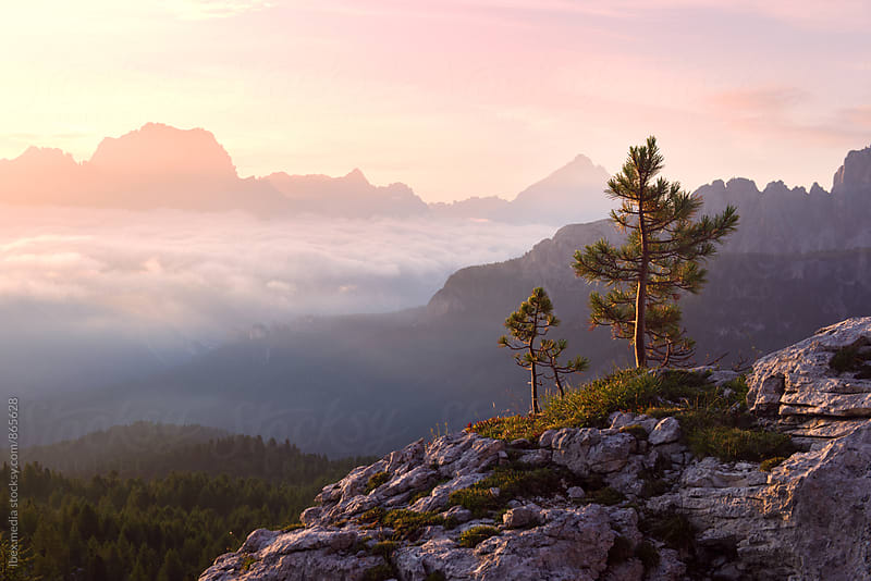 Colorful sunrise and sea of clouds in the mountains by RG&B Images for Stocksy United