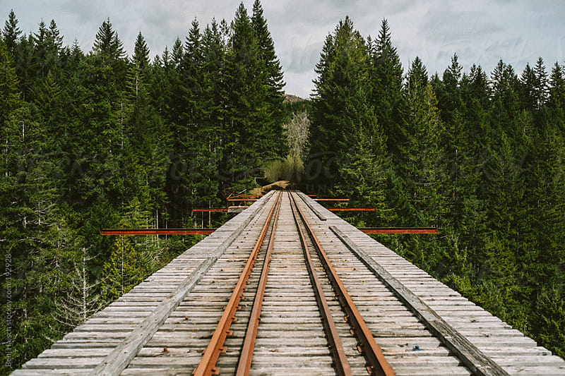 Train bridge in the pacific northwest by Benj Haisch for Stocksy United