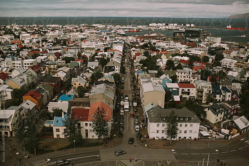Reykjavik, Iceland Bird's Eye City View by Rachel Gulotta Photography for Stocksy United