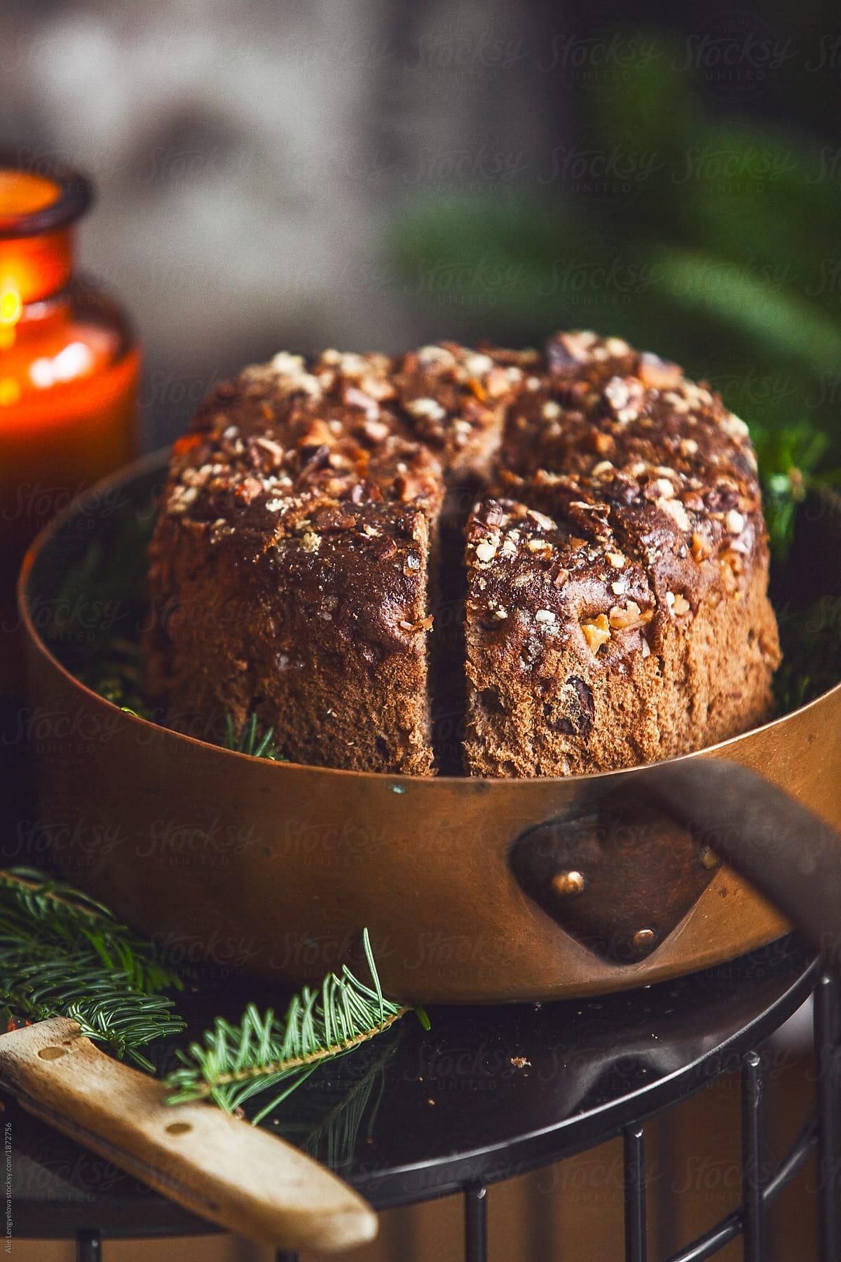 Italian Christmas Cake.Stock Photo Traditional Italian Christmas Cake