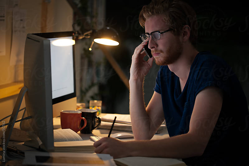 College Student Studying at Night by Lumina for Stocksy United