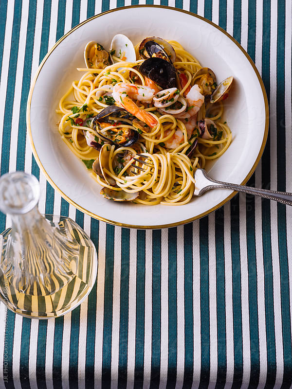 Spaghetti with seafood by J.R. PHOTOGRAPHY for Stocksy United