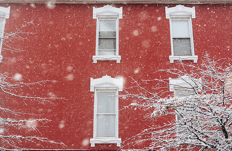 Snowstorm against red building. Brooklyn. New York City. by Kristin Duvall for Stocksy United