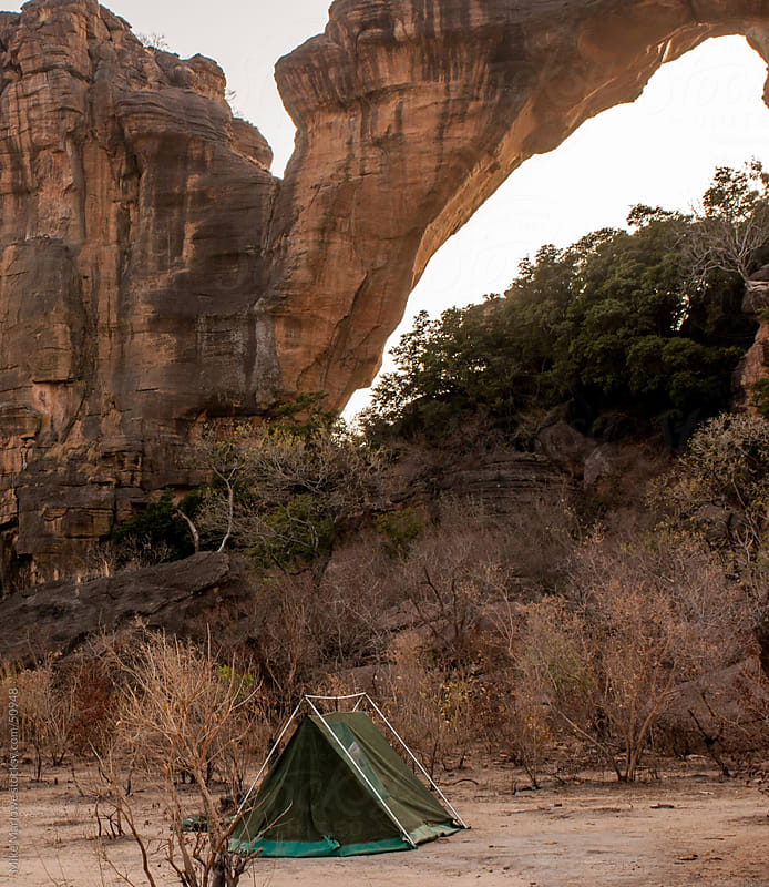 A tent in a remote wilderness location. by Mike Marlowe for Stocksy United