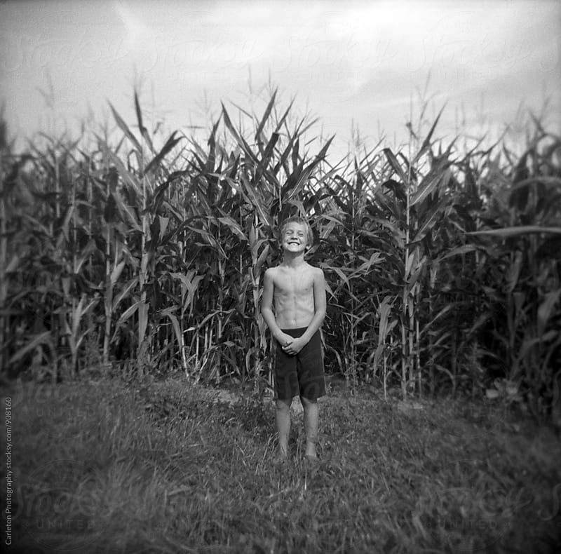 Shirtless boy laughing in corn field by Carleton Photography for Stocksy United