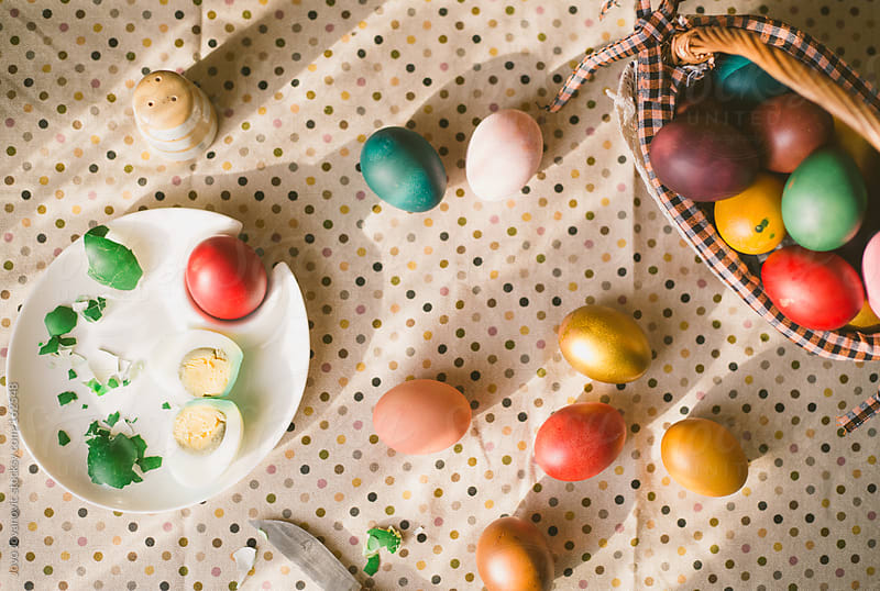 Messy Easter table by Jovo Jovanovic for Stocksy United