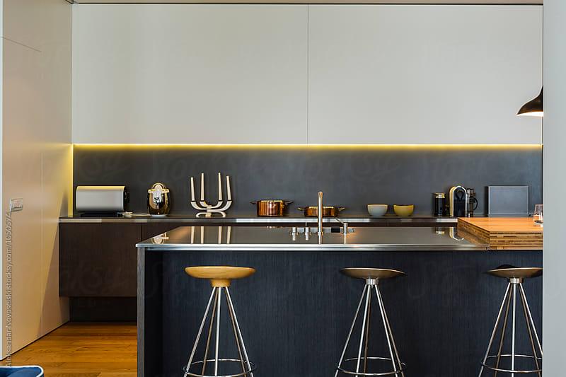 Modern kitchen in luxurious interior by Aleksandar Novoselski for Stocksy United