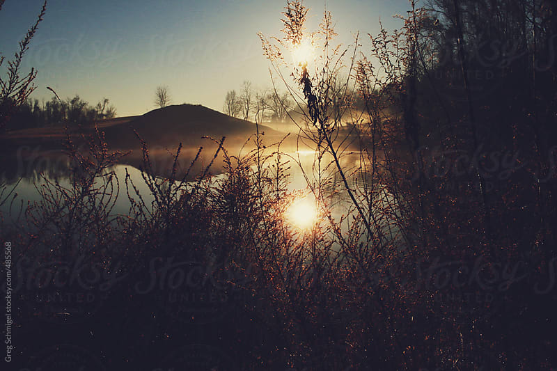 Early fog, sunrise and nature over a lake in a morning landscape by Greg Schmigel for Stocksy United