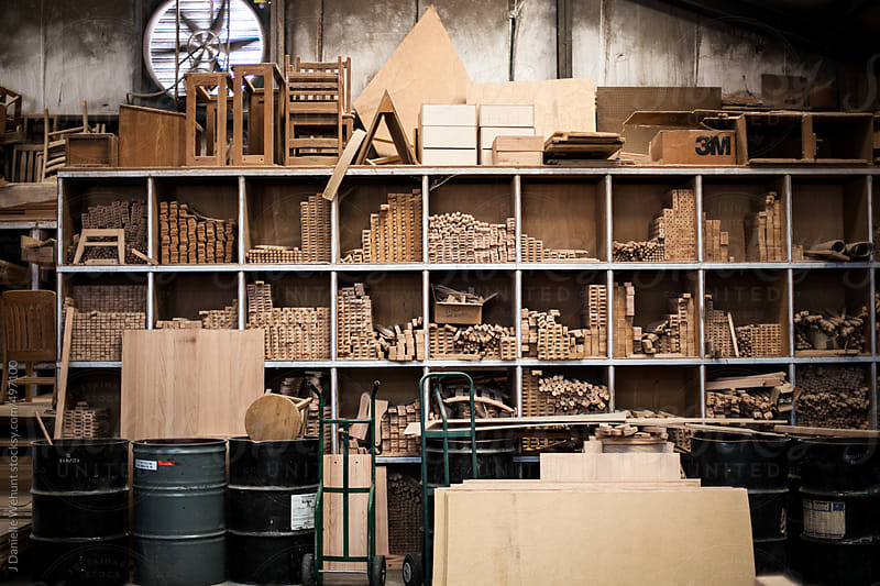 Storage shelf for woodworking workshop by J Danielle Wehunt for Stocksy United