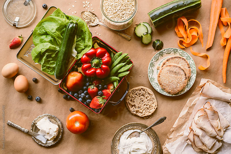 Assortment of fresh healthy food ingredients from above by Trent Lanz for Stocksy United