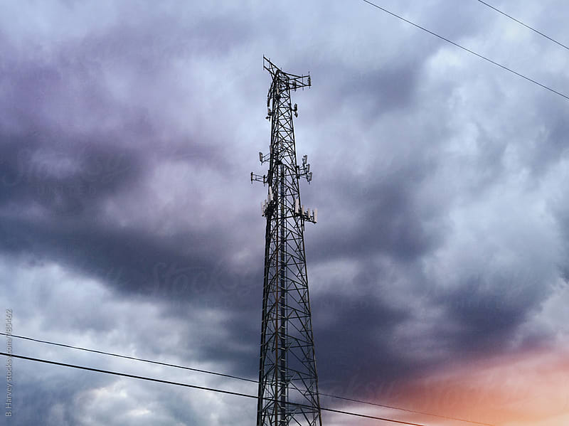 Cell Tower on Stormy Day by B. Harvey for Stocksy United