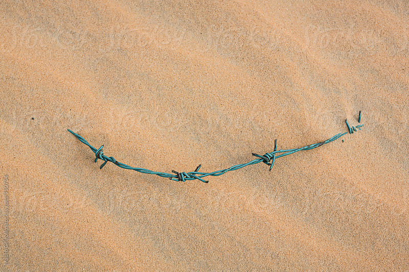 Barbed wire on sand. Desert. by Mauro Grigollo for Stocksy United