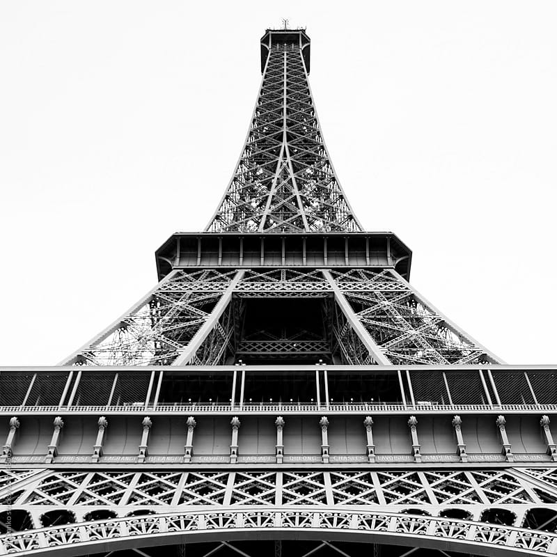 Black and White Vintage Film Medium Format Photograph of the Eiffel Tower Paris France by JP Danko for Stocksy United