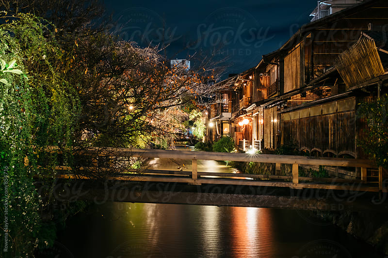 Giona District at night, Kyoto by Rowena Naylor for Stocksy United