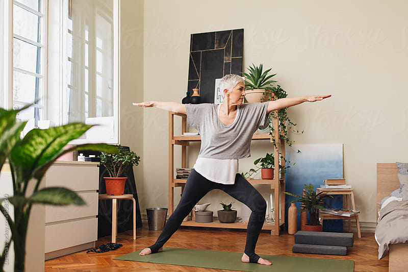 Woman Doing Yoga at Home by Lumina for Stocksy United