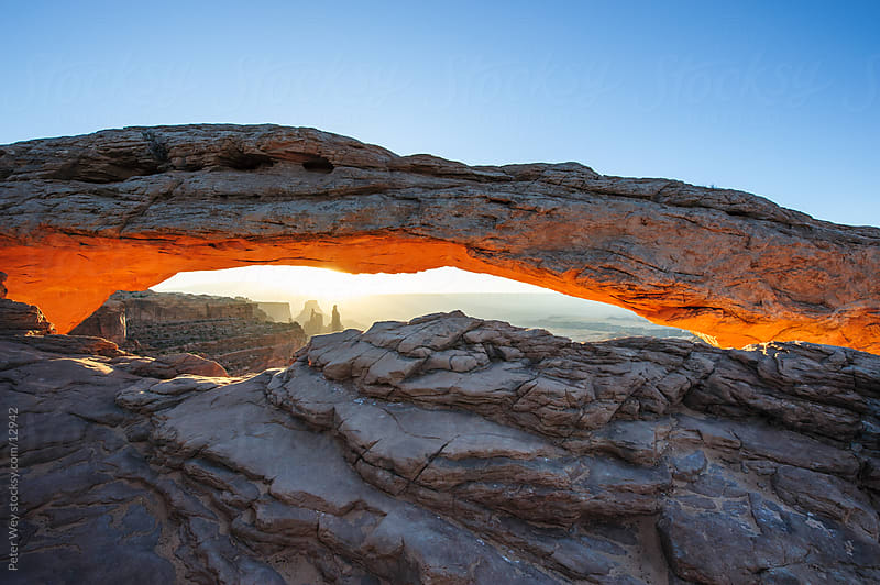Canyonlands National Park: Panorama of Mesa Arch at sunrise by Peter Wey for Stocksy United