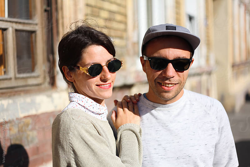 Portrait of a happy young couple  by Marija Mandic for Stocksy United