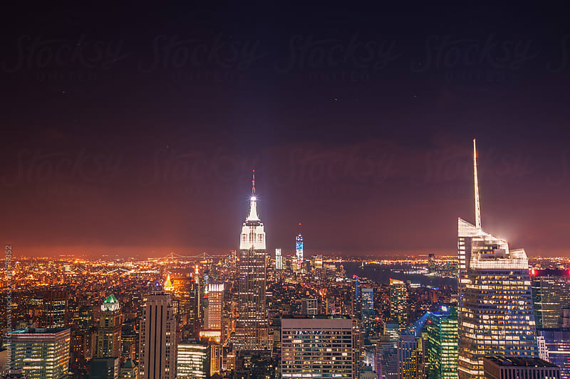 NYC Skyline and the Empire State Building at Night by Vivienne Gucwa for Stocksy United
