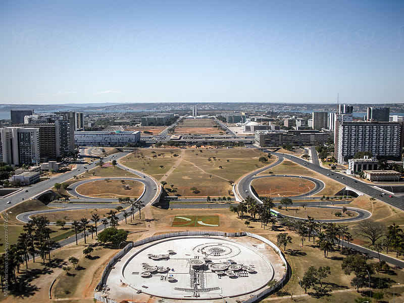 An ariel view of Brasilia showing geometric layout of roads by Mike Marlowe for Stocksy United