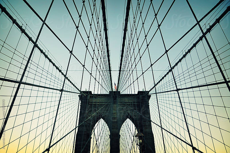 Brooklyn Bridge at sunset by Amanda Large for Stocksy United