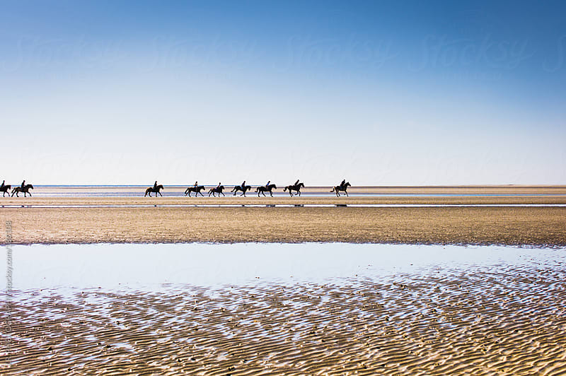 Group riding horses on beach by J.R. PHOTOGRAPHY for Stocksy United