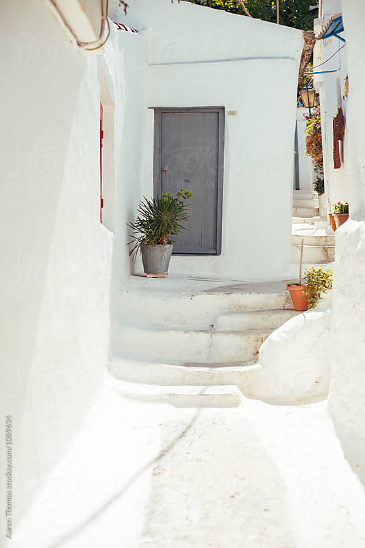 Front Door to a Greek Home by Aaron Thomas for Stocksy United