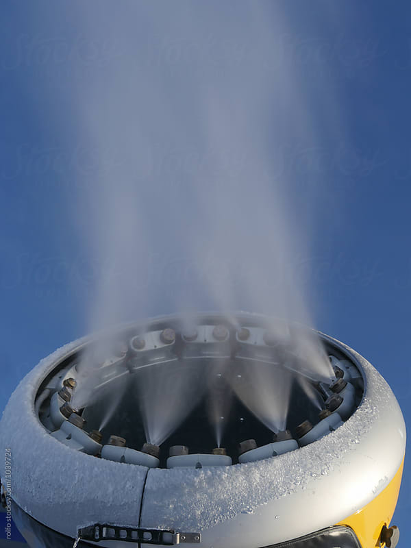 Close-up of snow turbine blowng air by rolfo for Stocksy United