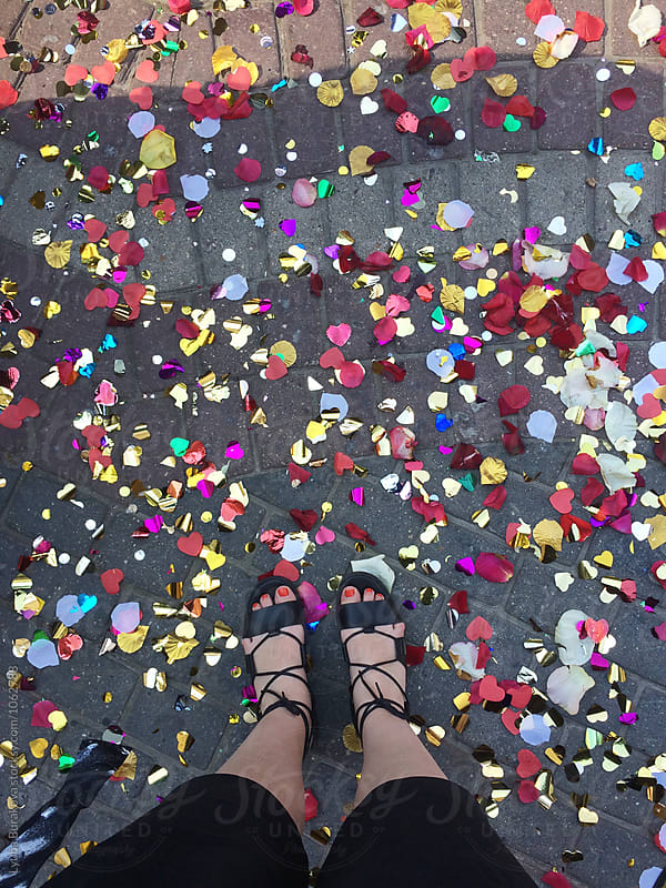 Selfie with a confetti  by Lyuba Burakova for Stocksy United